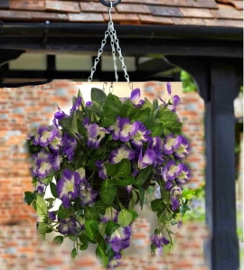 Artificilal+Hanging+Basket+surfinia+lilac+and+White+
