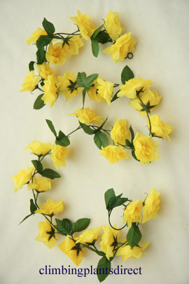 3x+Artificial+Flower+Garlands+in+Yellow+Roses+and+Refreshing+Green+Leaf+Detail+%28150cm+long+and+30%2B+Flowers+%2D+5Ft%29