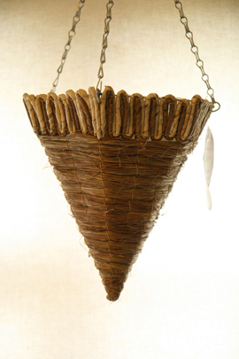 Sugarleaf+with+Cream+Bamboo+Rope+12%22+Hexagonal+Cone+Designer+Hanging+Basket+PAIR+OFFER%2E+Postage+FREE+