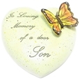 8cm POLYRESIN HEART - IN LOVING MEMORY OF A DEAR SON