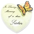 8cm POLYRESIN HEART - IN LOVING MEMORY OF A DEAR SISTER