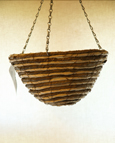 "Light Cream Maize & Taupe Rope 12"" Round Bottom Designer Hanging Basket PAIR OFFER. Postage FREE"