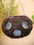 Natural Brushwood Ball Hanging Basket with Large Side Planting Holes. Perfect for easy planting & using year after year!