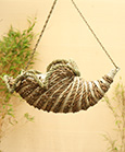 Old English Country Horn Hanging Basket in Bamboo Rope & Palm Leaf