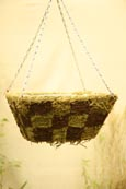 Rustic Moss and Brushwood Flat-Bottomed Patchwork Hanging Basket. Perfect for larger plants!